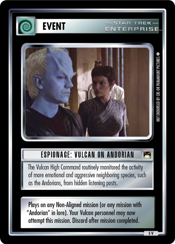 Espionage: Vulcan on Andorian