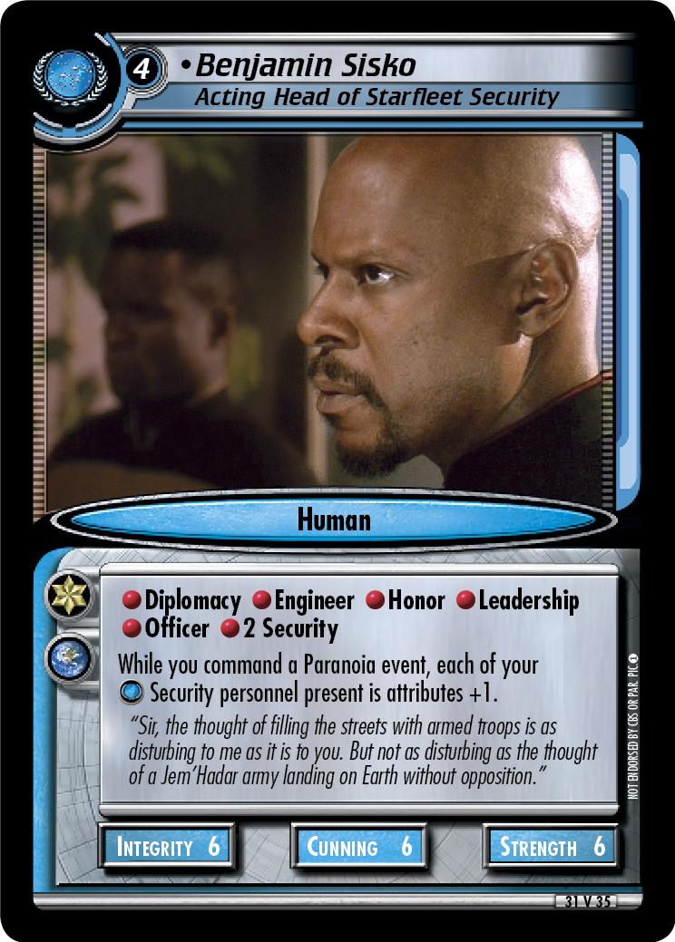 Benjamin Sisko (Acting Head of Starfleet Security)