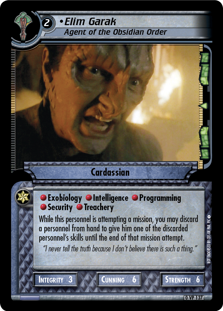 Elim Garak, Agent of the Obsidian Order